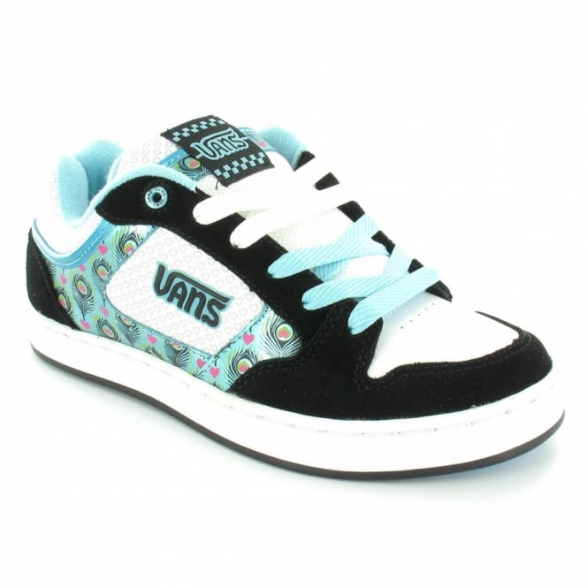 7127f2a9a4e Vans Mindi Womens Skate Trainer Shoes - Black+White+Blue
