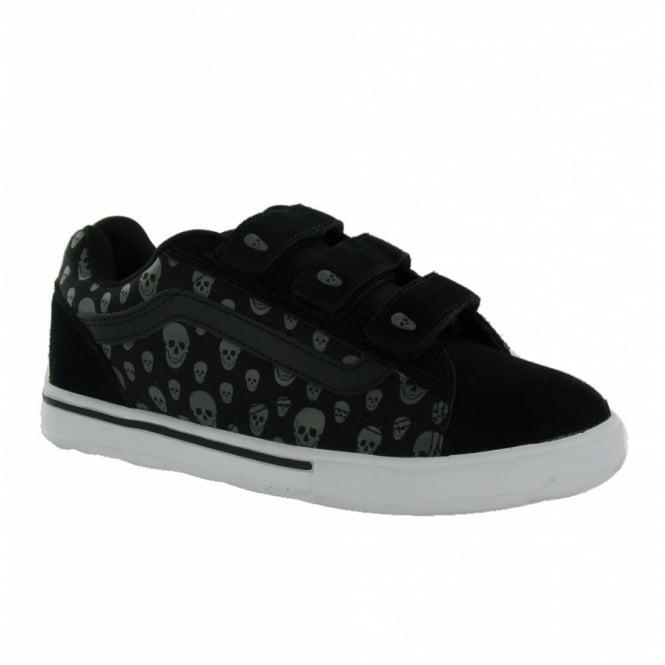 41876c0772 Vans NoSkool Womens Leather Skulls Skate Shoes - Black   Grey