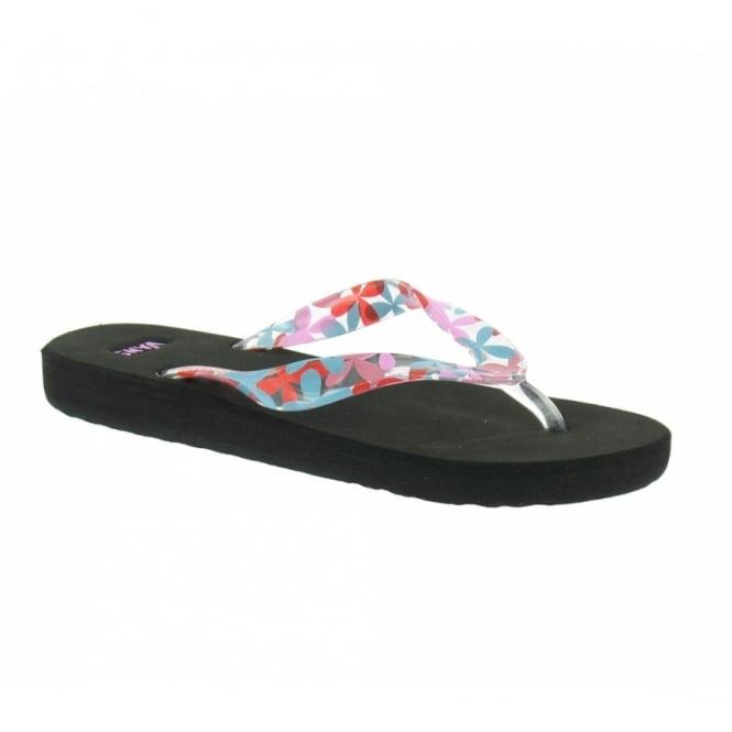 Vans Pacoima Womens Flip-Flops - Black + Pink Floral - Sandals from ... b081480cc6