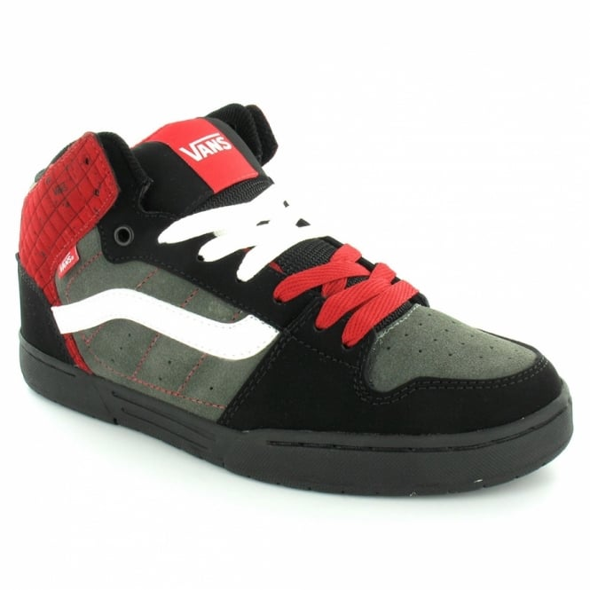 best drop shipping value for money Skink Mid Mens Leather Skate Trainer Shoes - Black+Charcoal Grey+Red