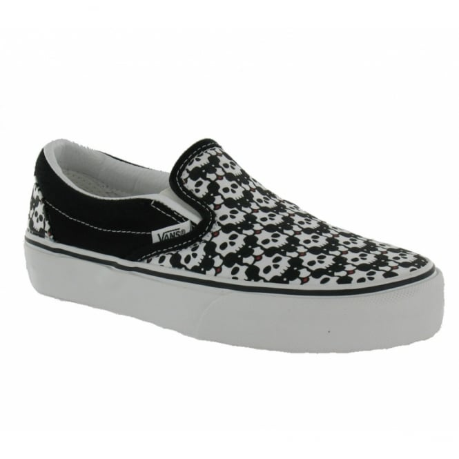 Vans Womens Classic Slip On Trainers Black Red Skull Puppies