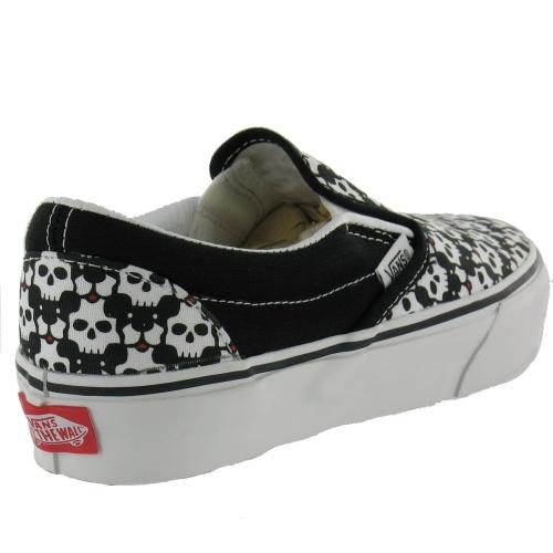 ddb36563db20 Vans Womens Classic Slip-On Trainers Black + Red Skull Puppies