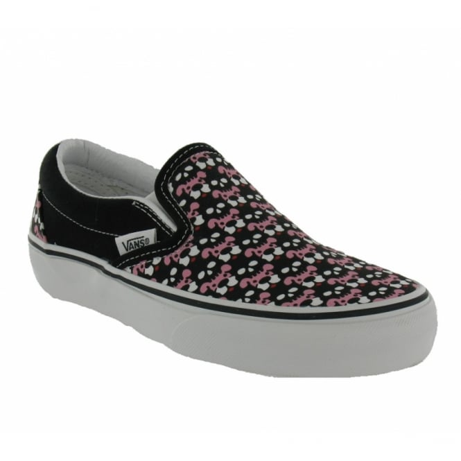 Vans Womens Classic Slip On Black Pink Skull Puppies Print