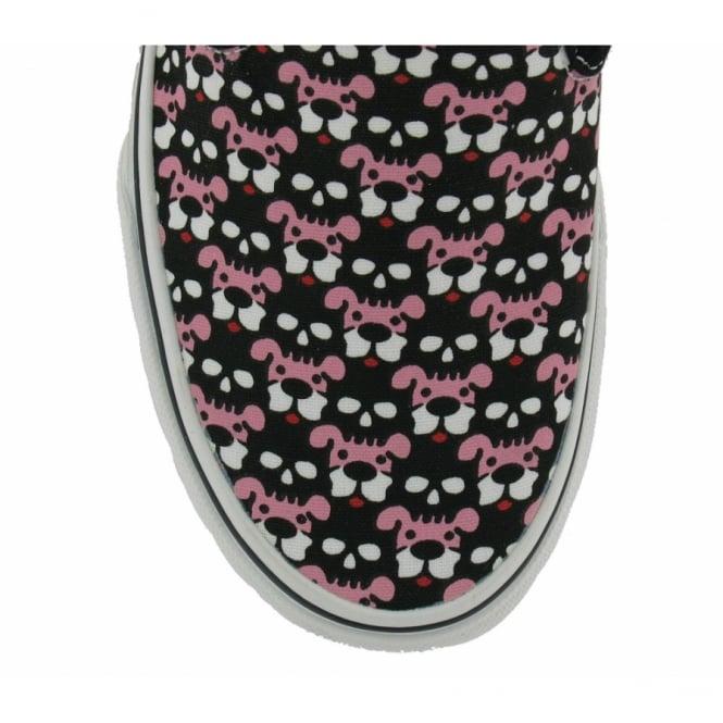 458b2961469f Vans Womens Classic Slip-On Black + Pink Skull Puppies Print