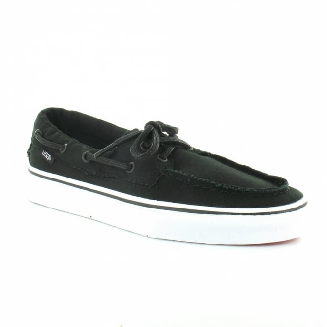 142ef33bb0 Vans Zapato Del Barco Mens Canvas 2-Eyelet Deck Shoes - Black   White