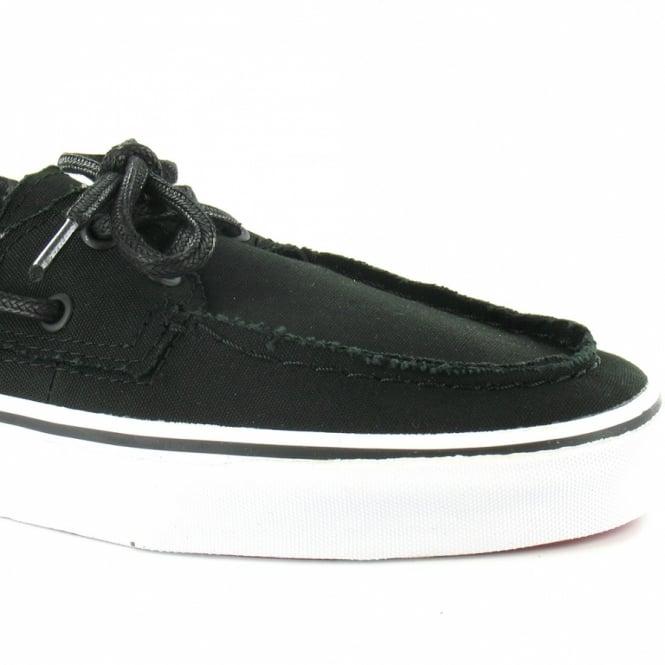 956863b8c33 Vans Zapato Del Barco Mens Canvas 2-Eyelet Deck Shoes - Black   White