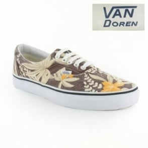 Vans Van Doren Era VN-0 QFK6G8 Unisex 5-Eyelet Hawaiian Print Canvas Shoes - Maroon Brown, Cream & Orange