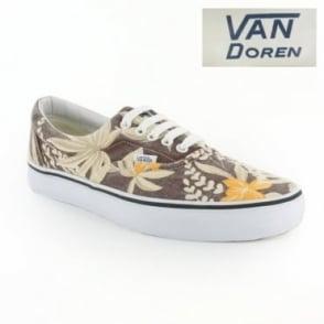 Vans Van Doren Era VN-0 QFK6G8 Unisex 5-Eyelet Hawaiian Print Canvas Shoes - Maroon Brown, Cream & Orange