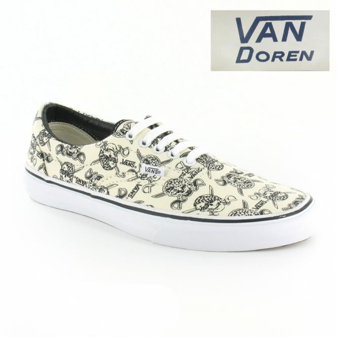ba7c47a3fb Vans Van Doren Era VN-0 VQFK6GB Unisex 5-Eyelet Skull Print Canvas Shoes -  Off White ...