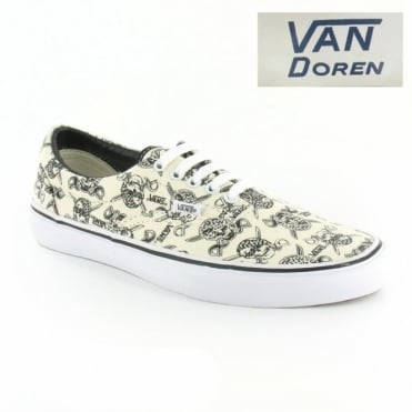 Vans Van Doren Era VN-0 VQFK6GB Unisex 5-Eyelet Skull Print Canvas Shoes - Off White & Black