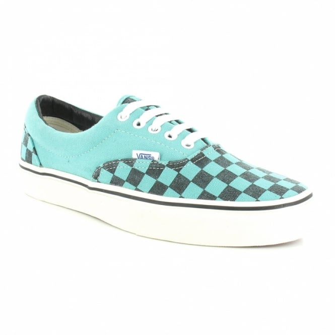 Vans Era Mens Washed Checker Canvas Skate Shoes (VN-0 QFK6GT) - Pool Blue