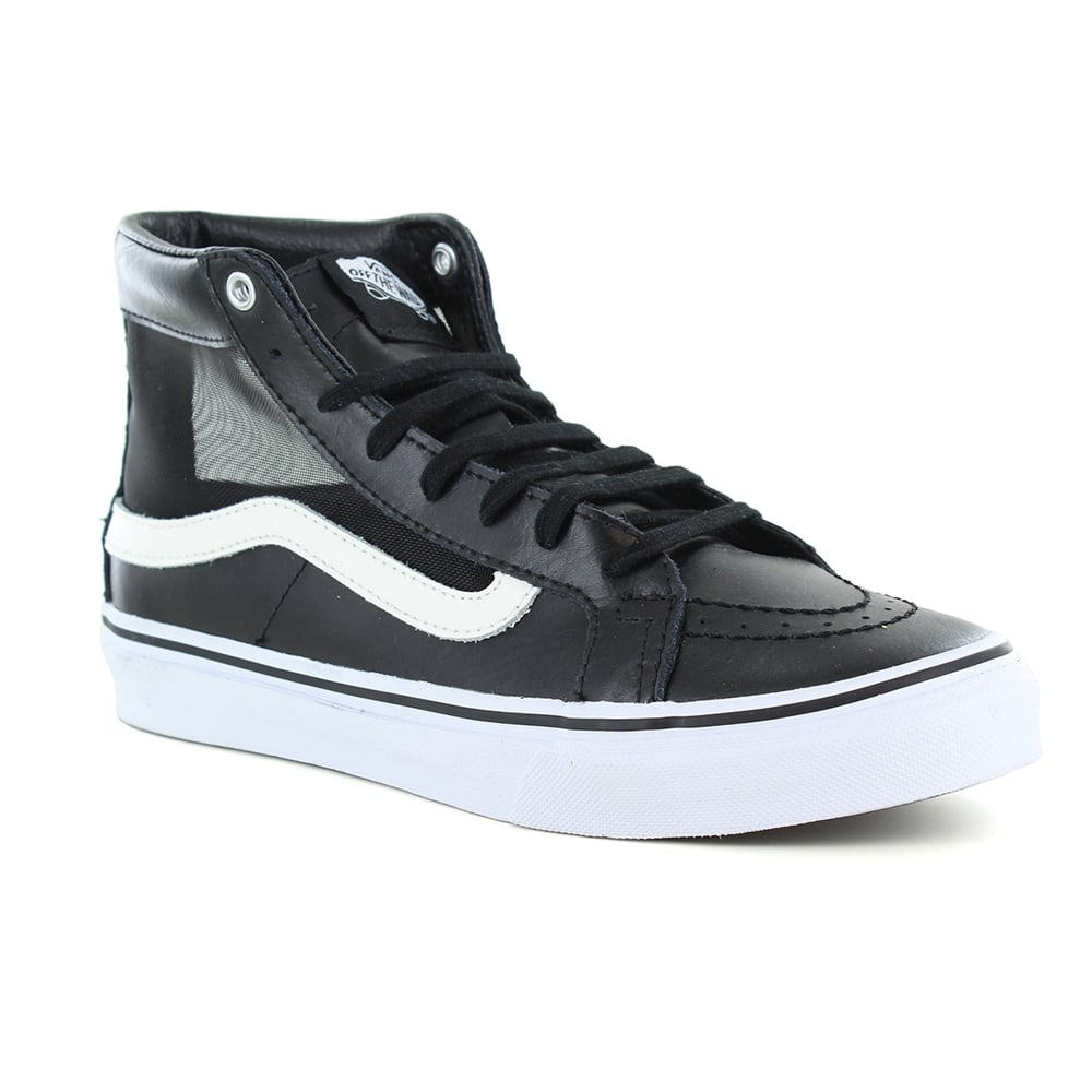 f86dc8a7cc58e2 Vans VN0004KZISJ Sk8-Hi Slim Cutout Womens Leather Skate Shoes - Black    White