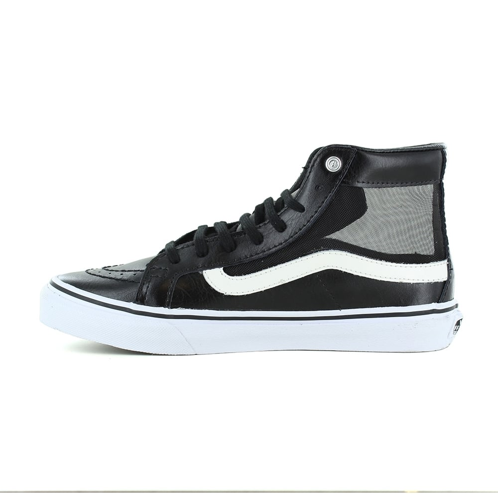 1a91894fe7f Vans VN0004KZISJ Sk8-Hi Slim Cutout Womens Leather Skate Shoes - Black    White