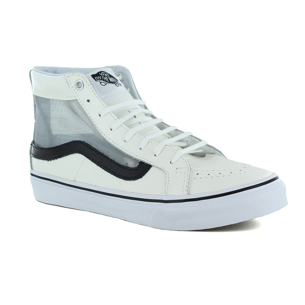 2e024a839364b1 Vans VN0004KZISZ Sk8-Hi Slim Cutout Womens Leather Skate Shoes - White    Black