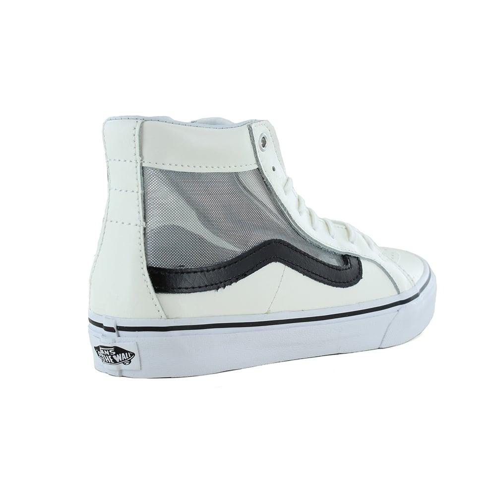 Vans VN0004KZISZ Sk8-Hi Slim Cutout Womens Leather Skate Shoes - White    Black 716a78620