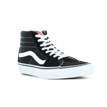 Vans VN000D5IB8C SK8-Hi Unisex Leather and Canvas Skate Shoes - Black And White