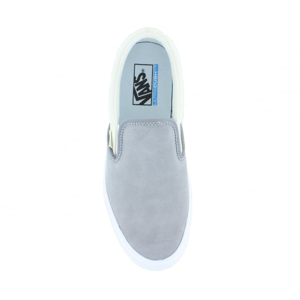 Vans VN0A2Z63R3L Unisex Slip-On Lite Leather and Canvas Shoes - Grey and  Marshmallow e5685ef7b