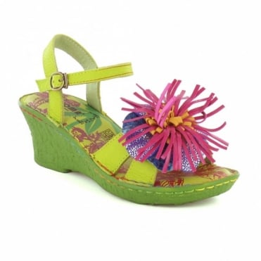 Yoma HX209-5A Top Flower Wedge Womens Sandals - Green