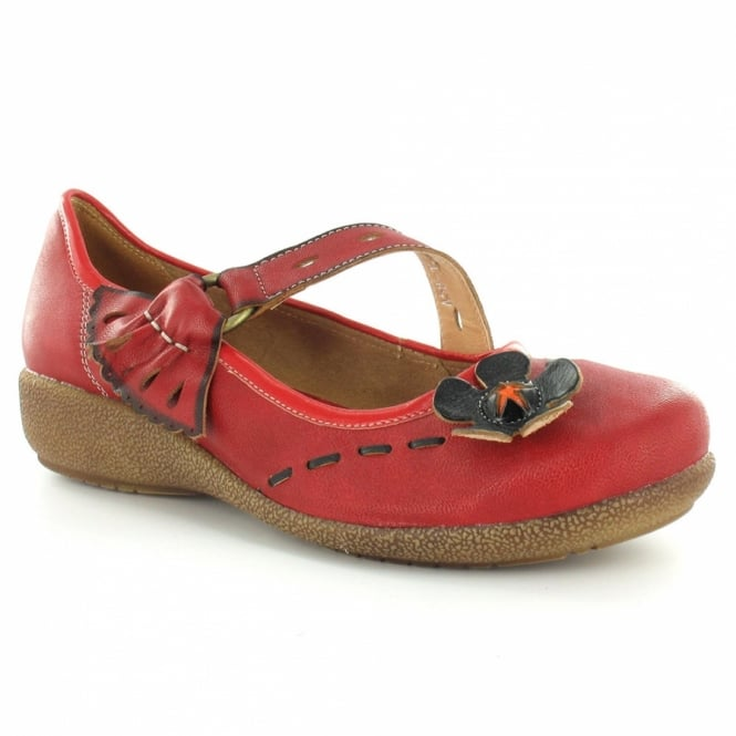 Yoma A58-12 Womens Leather Wedge Flower Pumps - Red
