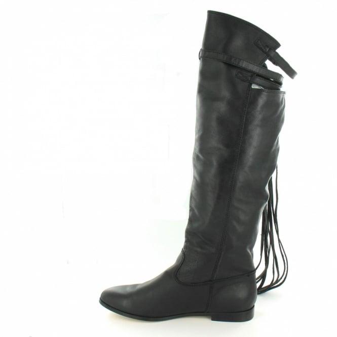 8e68550771d8 ZiGi ZG6414-20 Womens Leather Knee High Tassel Low Heel Boots - Black